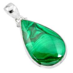25.26cts natural green malachite (pilot's stone) 925 silver pendant r84679