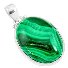 32.73cts natural green malachite (pilot's stone) 925 silver pendant r84680