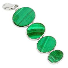 11.69cts natural green malachite (pilot's stone) 925 silver pendant r87843