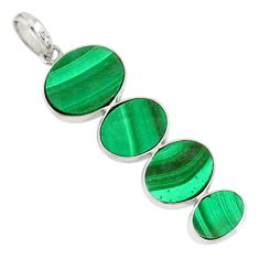 12.99cts natural green malachite (pilot's stone) 925 silver pendant r87845