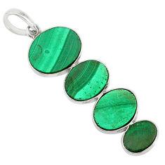 12.38cts natural green malachite (pilot's stone) 925 silver pendant r87846