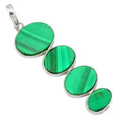11.74cts natural green malachite (pilot's stone) 925 silver pendant r87847
