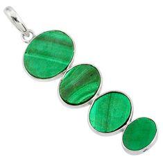 12.99cts natural green malachite (pilot's stone) 925 silver pendant r87849