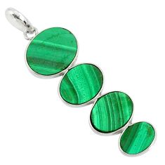 12.41cts natural green malachite (pilot's stone) 925 silver pendant r87851