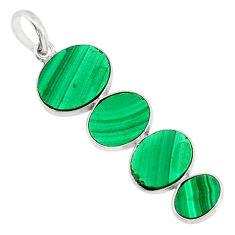 12.99cts natural green malachite (pilot's stone) 925 silver pendant r87852