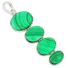 12.41cts natural green malachite (pilot's stone) 925 silver pendant r87855