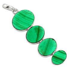 11.69cts natural green malachite (pilot's stone) 925 silver pendant r87856