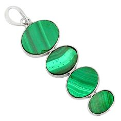 12.30cts natural green malachite (pilot's stone) 925 silver pendant r87857