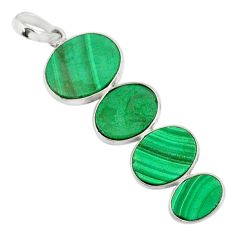11.86cts natural green malachite (pilot's stone) 925 silver pendant r87858