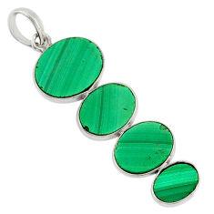 11.63cts natural green malachite (pilot's stone) 925 silver pendant r87859
