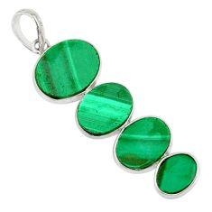 12.96cts natural green malachite (pilot's stone) 925 silver pendant r87921