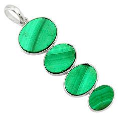 11.83cts natural green malachite (pilot's stone) 925 silver pendant r87922