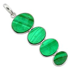 13.54cts natural green malachite (pilot's stone) 925 silver pendant r87923