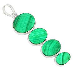 12.32cts natural green malachite (pilot's stone) 925 silver pendant r88059