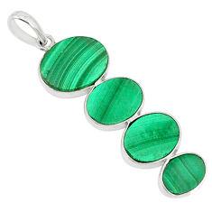 12.27cts natural green malachite (pilot's stone) 925 silver pendant r88060