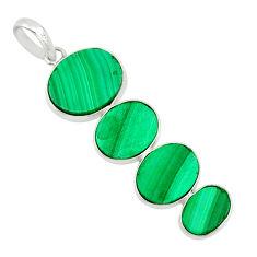 11.19cts natural green malachite (pilot's stone) 925 silver pendant r88320