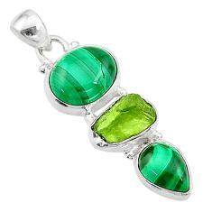 11.59cts natural green malachite (pilot's stone) 925 silver pendant t18762