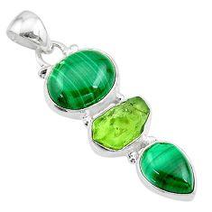 11.53cts natural green malachite (pilot's stone) 925 silver pendant t18764