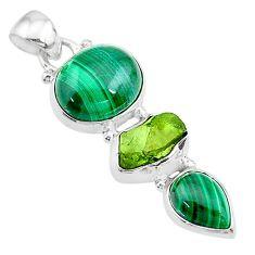 12.08cts natural green malachite (pilot's stone) 925 silver pendant t18766