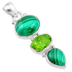 10.96cts natural green malachite (pilot's stone) 925 silver pendant t18767