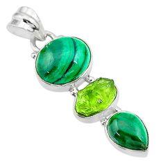 12.91cts natural green malachite (pilot's stone) 925 silver pendant t18769