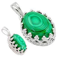 6.64cts natural green malachite (pilot's stone) 925 silver pendant t20461