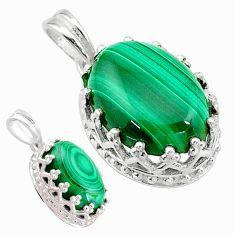 6.26cts natural green malachite (pilot's stone) 925 silver pendant t20462