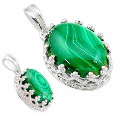 6.21cts natural green malachite (pilot's stone) 925 silver pendant t20463