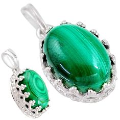 7.00cts natural green malachite (pilot's stone) 925 silver pendant t20469