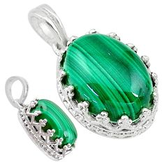 7.00cts natural green malachite (pilot's stone) 925 silver pendant t20488