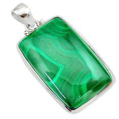 32.73cts natural green malachite (pilot's stone) 925 silver pendant t22545