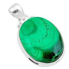 18.10cts natural green malachite (pilot's stone) 925 silver pendant t24822