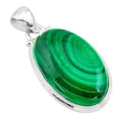 20.07cts natural green malachite (pilot's stone) 925 silver pendant t24841