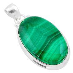 27.70cts natural green malachite (pilot's stone) 925 silver pendant t24847