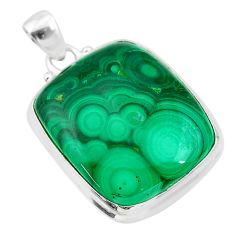 30.40cts natural green malachite (pilot's stone) 925 silver pendant t24848