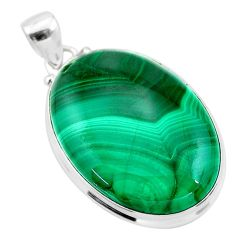 31.53cts natural green malachite (pilot's stone) 925 silver pendant t24861