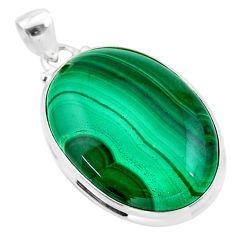27.70cts natural green malachite (pilot's stone) 925 silver pendant t24873