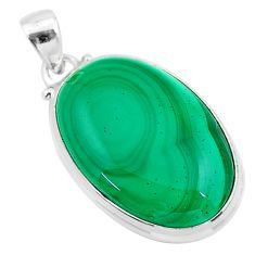 27.08cts natural green malachite (pilot's stone) 925 silver pendant t24876
