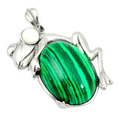 Natural green malachite (pilot's stone) 925 sterling silver owl pendant c21623