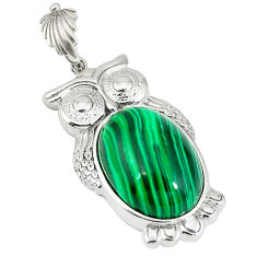 Natural green malachite (pilot's stone) 925 sterling silver owl pendant c22571