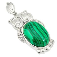 Natural green malachite (pilot's stone) 925 sterling silver pendant c21621
