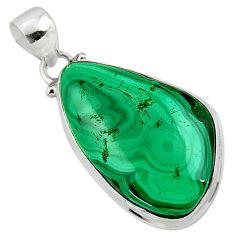 25.00cts natural green malachite (pilot's stone) fancy 925 silver pendant r50586