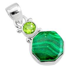 8.26cts natural green malachite (pilot's stone) fancy 925 silver pendant r73132