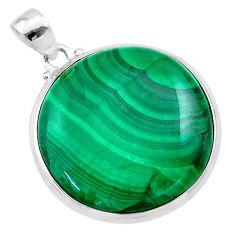 31.00cts natural green malachite (pilot's stone) fancy 925 silver pendant t22748