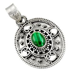 Clearance Sale- 2.10cts natural green malachite (pilot's stone) oval 925 silver pendant d39234