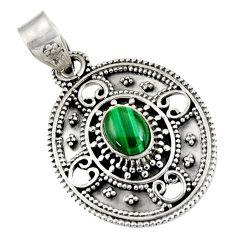2.10cts natural green malachite (pilot's stone) oval 925 silver pendant d39234