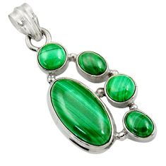 Clearance Sale- 13.45cts natural green malachite (pilot's stone) oval 925 silver pendant d42765