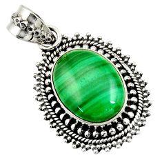 10.89cts natural green malachite (pilot's stone) oval 925 silver pendant d42841