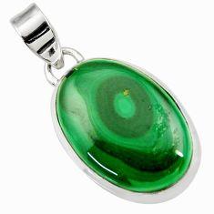 15.65cts natural green malachite (pilot's stone) oval 925 silver pendant d43778