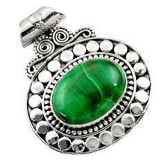 13.04cts natural green malachite (pilot's stone) oval 925 silver pendant d45026